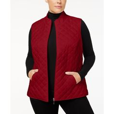 Karen Scott Plus Size Quilted Vest, Created for Macy's ($25) ❤ liked on Polyvore featuring plus size women's fashion, plus size clothing, plus size outerwear, plus size vests, new red amore, plus size vest, red vest, plus size quilted vest, womens plus size vests and karen scott