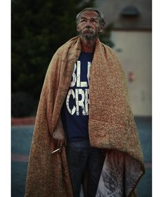 homeless man with blanket around him  cain&abel.  brian doherty.  portrait.