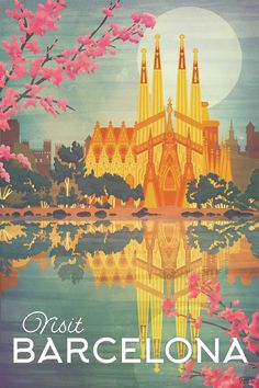 Barcelona, Spain vintage style travel poster. Artwork features the exterior of Antoni Gaudi's Sagrada Familia, the large unfinished cathedral in the center of town. By artist Missy Ames.