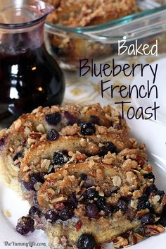 Make-Ahead Baked Blueberry Whole Grain French Toast with Streusel Topping. TheYummyLife.com