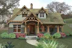 Craftsman Style House Plan - 3 Beds 2 Baths 1421 Sq/Ft Plan #120-174 Exterior - Front Elevation - Houseplans.com