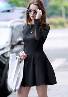 08f391d205d ByChicStyle Casual Black Plain Pleated Boat Neck Fashion Mini Dress   christmas Long Summer Dresses