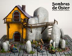 Mesa de juego, módulo de 35x35 cm y comparación de tamaño con miniaturas de escala 28mm. http://sombrasdeoster.blogspot.com.es/