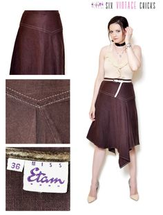 asymetrical skirt midi high waisted skirt women clothing 90s clothing boho chic bohemian summer gift casual brown Size S by SixVintageChicks on Etsy