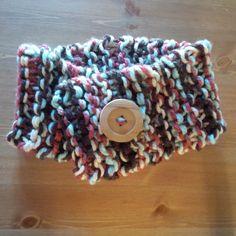 Hand knit neck warmer, pink, brown beige and teal with wooden buttons. Brown Beige, Pink Brown, Teal, Neck Warmer, Merino Wool Blanket, Knits, Hand Knitting, Buttons, Breien