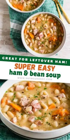 This quick and easy ham and bean soup is packed full of white beans, smoked ham, carrots, and onions. It's ready in just 30 minutes and a hearty way to use up all that leftover holiday ham. Easy Ham And Bean Soup Recipe, Bean Soup Recipes, Pork Recipes, Crockpot Recipes, Vegetarian Recipes, Cooking Recipes, Fancy Dinner Recipes, Delicious Dinner Recipes, Dinner Ideas