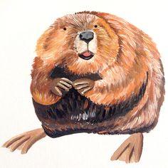 Beaver - Acrylic on Canvas
