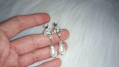 Pearl Drop Earrings, Bridal Earrings, Crystal Earrings, Decorative Hair Combs, Vintage Wedding Jewelry, Antique Silver, Costume Jewelry, Vintage Inspired, Swarovski