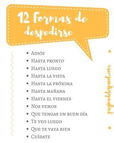 12 formas de despedirse o de decir adiós en español.