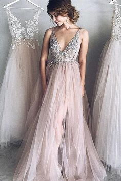 A-Line Deep V-Neck Tulle Prom Dress,Long Evening Dress with Beading OK848