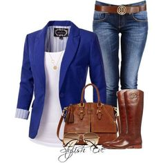 Royal Blue blazer, Jeans and Brown Boots, casual outfilt