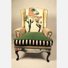 Shawna Robinson/ Happy Chair (Victoria chair) love the stripes on the cushion & faint echo of that in piping