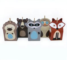 DIY Woodland Animal Gift Bag Templates // Party Favors // Loot Bags // Owl Fox Raccoon Hedgehog Bear // Small