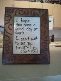 DIY write-on picture frame. This blog has more examples. Such a cute idea!