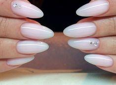 Milky white almond nails
