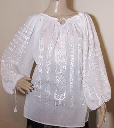 Handmade  Romanian peasant blouse White Peasant Blouse, Ethnic Dress, Blouse Dress, Silk Top, Byzantine, Hand Weaving, Tunic Tops, Fabric, Pattern