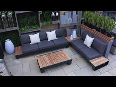 Grey Garden Furniture, Resin Patio Furniture, Outdoor Garden Furniture, Outdoor Decor, Furniture Ideas, Outside Furniture Patio, Outdoor Sofa Sets, Outdoor Sofa Cushions, Outdoor Sectional