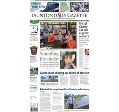 The front page of the Taunton Daily Gazette for Friday, Oct. 3, 2014.
