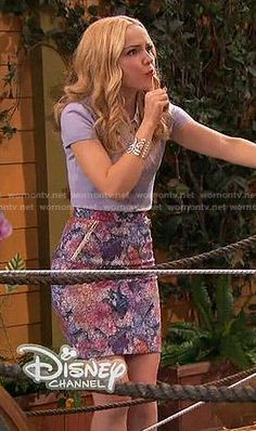 Liv's floral pencil skirt on Liv and Maddie.  Outfit Details: http://wornontv.net/52964/ #LivandMaddie
