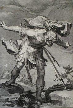 123. Saul destroys himself. 1 Samuel cap 31 vv 4-5. Bloemart
