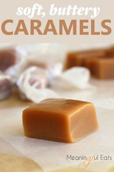 Soft, Buttery Homemade Caramels is part of Caramel dessert recipes Soft, buttery and perfect Our family& tried and true recipe! Homemade Caramel Recipes, Homemade Candies, Homemade Caramels, Homemade Sweets, Homemade Butter, Homemade Recipe, Snacks, Christmas Treats, Christmas Candy