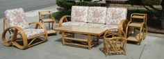 Vintage Mid Century Modern Retro 1950s Rattan Furniture Sofa Chair Table Tiki | eBay