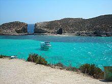 Lagune entre Comino et l'île Cominotto à Malte