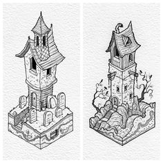 "3,800 Likes, 15 Comments - @thisnorthernboy on Instagram: ""Haunted houses... #copic multiliner SP pens on cartridge paper.  #illustration #isometric #horror"""