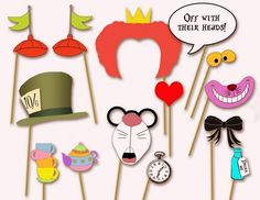 These playful Alice in Wonderland party photo booth props will ensure fun photos of you and your wedding guests. DIY Tip: Simply download and print these items before carefully cutting them out and attaching them to skewer sticks.