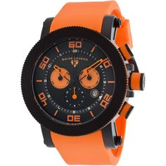 Swiss Legend Cyclone Chrono Orange Silicone Black Dial Black Ip... ($71) ❤ liked on Polyvore featuring men's fashion, men's jewelry, men's watches, orange, watches, mens orange watches, mens watches, mens stainless steel watches, mens chronograph watches and mens skeleton watches