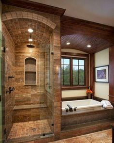 like the architectual cutout at the end of the shower. Dual lighting - nice.
