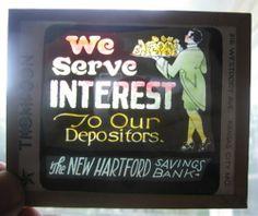 Antique Glass Movie Theater Slide Advertising New Hartford Savings Bank | eBay