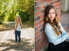 Beautiful senior girl in nature and against a brick wall, captured by Bellevue senior photographer, Criativo Photography, www.criativophoto.com
