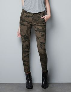 CAMOUFLAGE TROUSERS WITH ZIPS - Trousers - Woman - New collection - ZARA United Kingdom