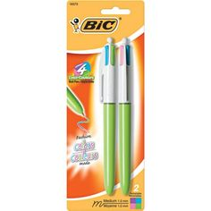 """Bic 4 color med pt ballpoint pen. """"Fashion"""" colors: lime green, pink, purple, and turquoise ink"""