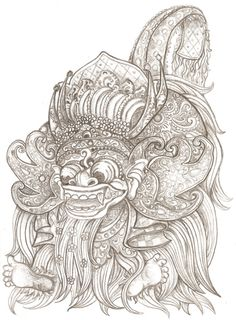 Barong Mapang (in action) bali traditional dance. Character Sketches, Character Illustration, Barong Bali, Hindu Tattoos, Oriental, Balinese, Asia, Adult Coloring Pages, Amazing Art