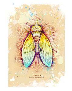 《蝉》cicada by Dou , via Behance