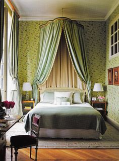 Decorator Timothy Corrigan's restored Chateau du Grand-Lucé. One of 16 guest rooms - Chambre des Papillons.