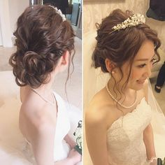 Pin by Jess T on Bridal Look in 2019 Wedding Tiara Hairstyles, Rustic Wedding Hairstyles, Bridal Hairdo, Hairdo Wedding, Kawaii Hairstyles, Dress Hairstyles, Bride Hairstyles, Hair Arrange, Hair Setting