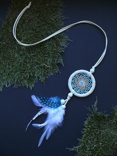 White turquoise gemstone dream catcher by DeiDreamCatchers on Etsy