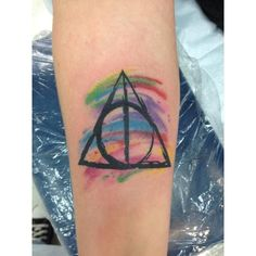 My watercolor Deathly Hallows Tattoo Tattoos are Art ❤ liked on Polyvore featuring accessories, body art and tattoos