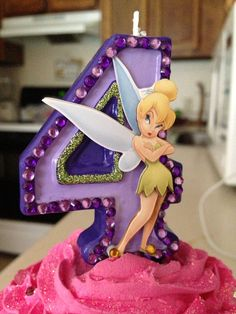 Hand-painted Tinkerbell Birthday candle - Any Number via Etsy
