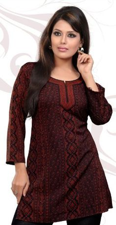 Indian Tunic Top Womens / Kurti Printed Blouse India Clothing (Maroon) Maple Clothing. $22.99