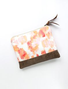 Zipper Clutch in Coral and Peach Watercolor with by allisajacobs, $52.00