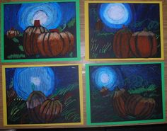 Moonlit Pumpkins 3rd graders finished up working with value on their moonlit skies and pumpkins this week. Tints and shades, creating the illusion of depth by overlapping and placing smaller objects nearer to the horizon line. Medium: oil pastels and baby oil