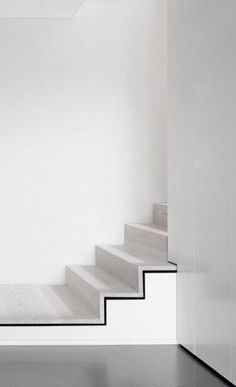 Black on White, black and white and concrete stairs, white stairs, modern, clean Interior Staircase, Staircase Design, Interior Architecture, Stair Design, Minimal Architecture, Architecture Details, Black And White Interior, Black White, Black And White Stairs