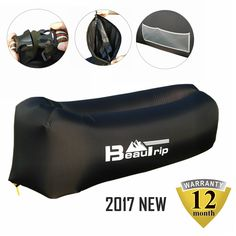 BEAUTRIP 100% Nylon Single Inlet Inflatable Air Lounger Sleeping Bag with Backpack, Pockets, Securing Stake & Bottle Opener - Hammock Ideal for Indoor & Outdoor Camping, Picnics & Musical Festivals. DURABLE & WATERPROOF- Made of 100% premium quality 210T nylon. The Air Lounge is soft, easy to clean, tear resistant, light weight and waterproof. It's just 1.8lbs and could float on water well. The interior is coated by PU, which also prevents leakage. Once being inflated, it could work for…