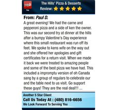 A great evening! We had the carne and pepperoni pizza and a side of ken the owner. This...