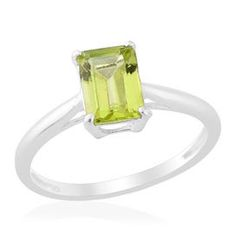 Classy and beautiful is this Hebei Peridot Solitaire ring in sterling silver. The combination creates a sparkling appeal!  Free Shipping ​Gift Box