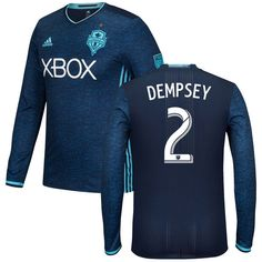 Clint Dempsey Seattle Sounders FC adidas 2016 Authentic Third Long Sleeve Jersey - Pacific Blue - $149.99